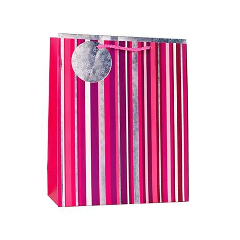 Gbl8303m - gift bag large - pink stripe