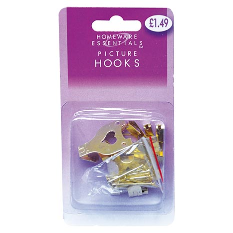 Picture hooks ass (10small + 5large with nails)