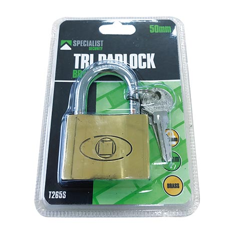 50mm brass tri padlock - 26195