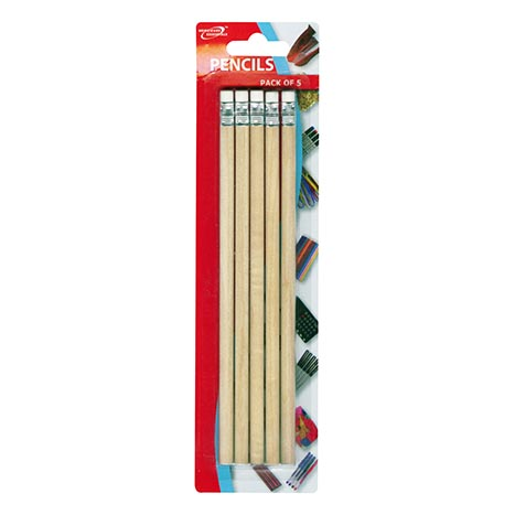 (red label) pencils with erasers 5pk