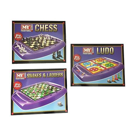 Family games - 3 asstd (ludo/chess/snakes&ladders)