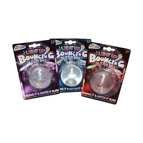 Light up bouncing glitter ball
