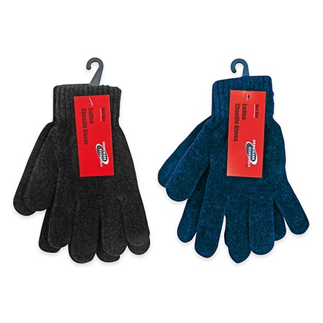 Homeware Essentials Ladies Chenille Gloves - Assorted Colours