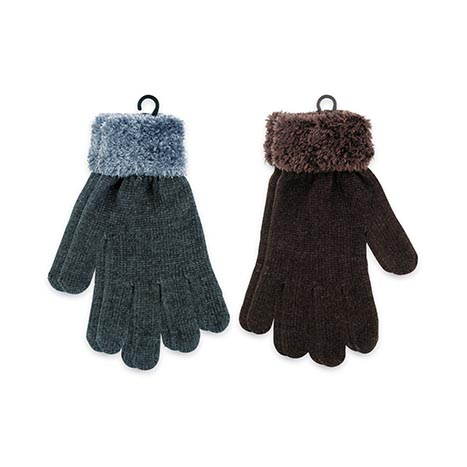 Ladies chenille gloves with feather cuff