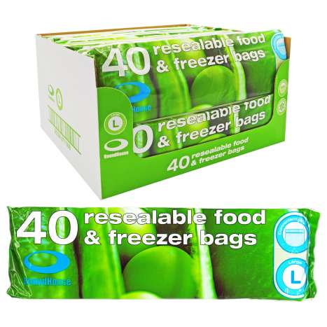 Resealable Food & Freezer Bags 40 Pack - Large