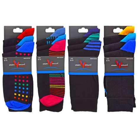 Men's Quality Black Socks 3 Pack - Moon Walker (Size 6-11) Assorted Designs