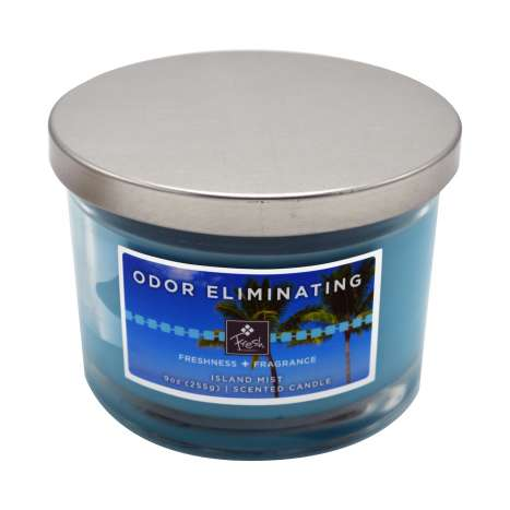 Odor eliminating 3 wick candle - island mist fresh 9oz