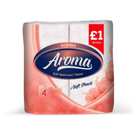 Aroma peach toilet paper 4pk 2ply - PM £1