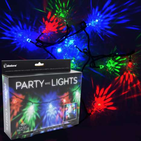 Music reactive party wire lights - 12 bulbs/approx 4.31M long - USB