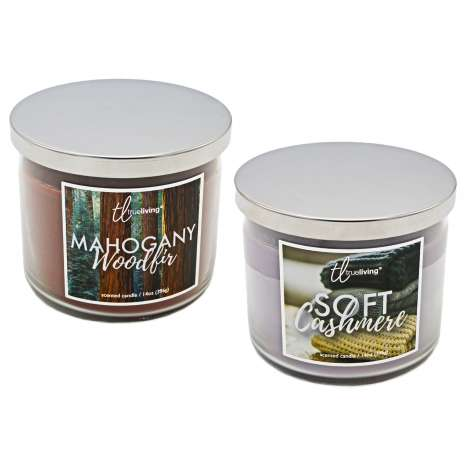 Scented 3 Wick Glass Candles 396g - Soft Cashmere & Mahogany