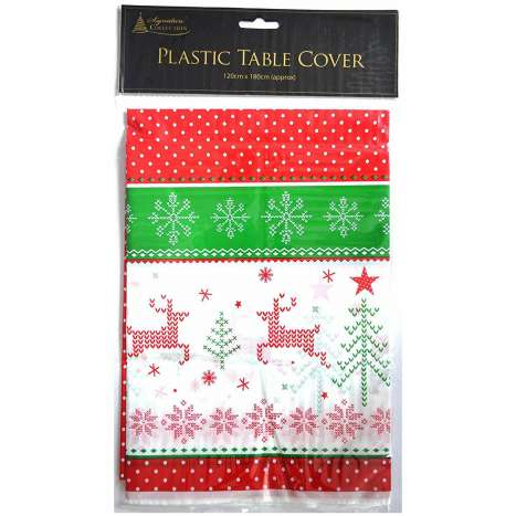 Christmas plastic table cover (120x180cm approx)