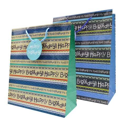 Gift bag large happy birthday text (26cm x 32cm)
