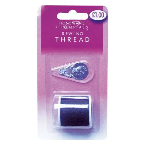 Homeware Essentials Black Sewing Thread & Threader 100m (HE09)