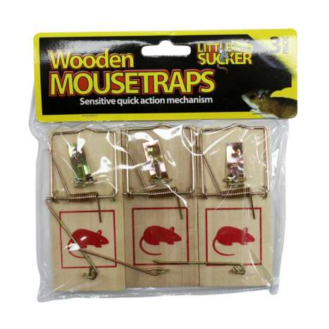 Traditional Wooden Mouse Traps 3 Pack