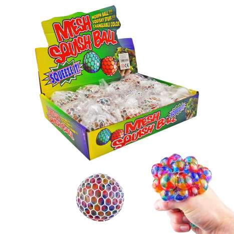 Rainbow Mesh Squish Ball 5cm