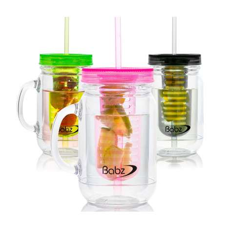 Fruit mason jars with straw 3PK assorted colours