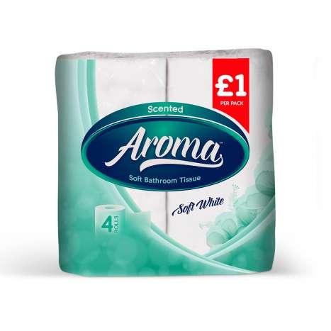 Aroma white toilet paper 4pk 2ply - PM £1