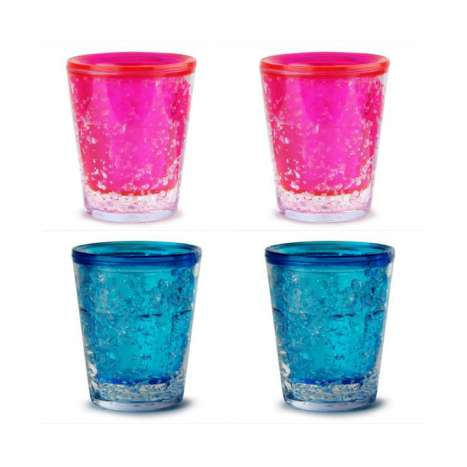 Sub zero freezer shot glasses 50ml - pink & blue (in display)