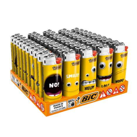 BIC Slim Flint Lighters J23 Decor - Yellow Mouth