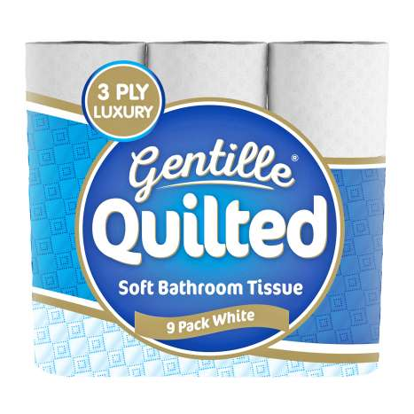 Gentille Quilted White Toilet Paper Luxury 3Ply 9 Pack