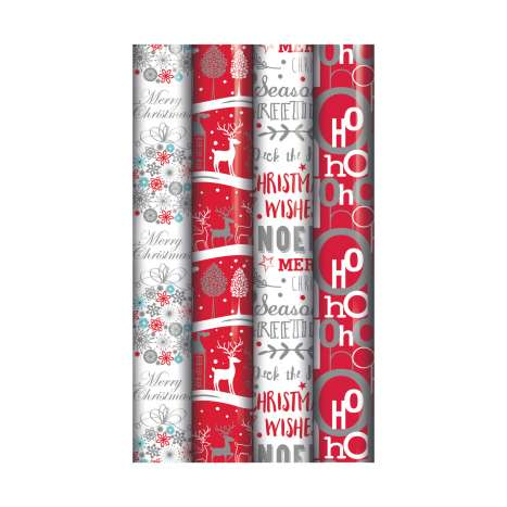 5M contemporary Christmas roll wrap - assorted designs