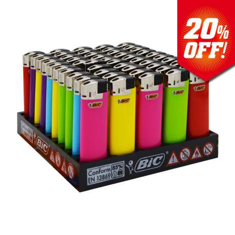 BIC Electronic J38 Lighters - Assorted Colours