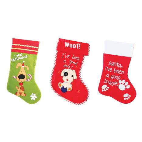 Dog Christmas stocking - 3 assorted designs