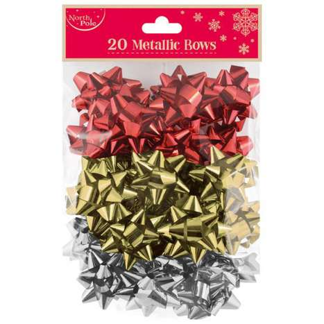 Metallic bows asstd 20pk