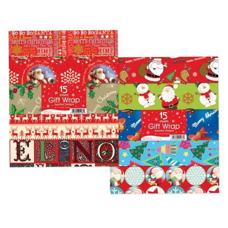 15 sheets assorted wrapping paper