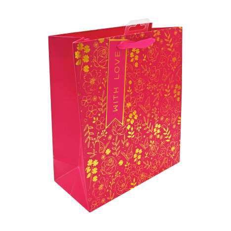 Medium Gift Bags - Gold & Pink Floral With Love (21cm x 26cm)