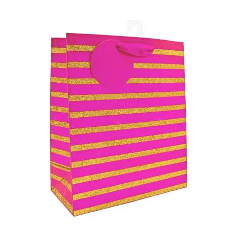 Medium Gift Bags - Pink and Gold (21.5cm x 25.5cm)