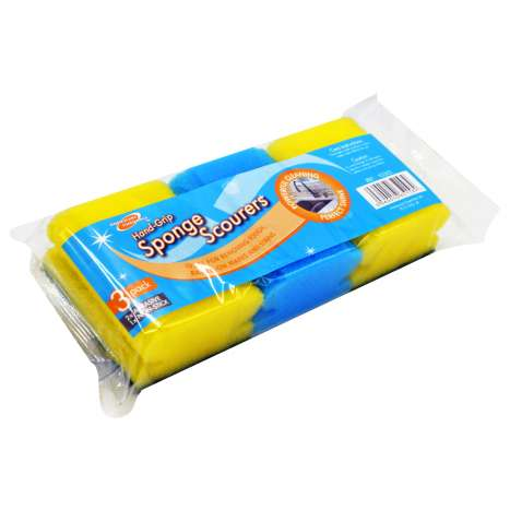 Homeware Essentials Hand Grip Sponge Scourers 3 Pack
