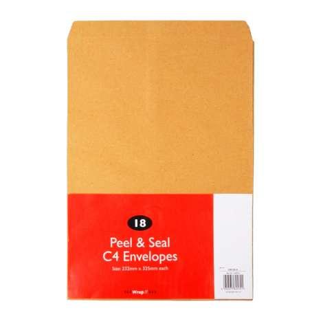 C4 Peel & Seal Manilla Envelopes 18 Pack (325mm x 232mm)