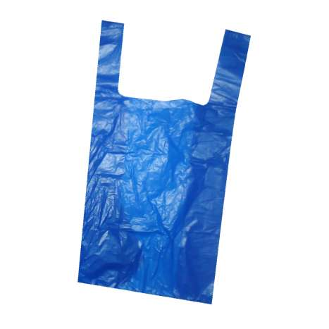 Jumbo 4 star recycled vest carrier bags blue - 27mu 12 x 18 x 24""