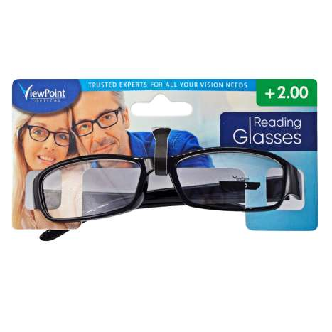 ViewPoint Optical Unisex Black Reading Glasses +2.00