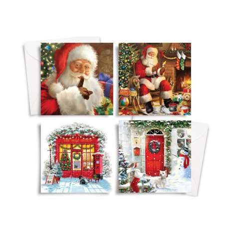 Square traditional cards 10PK - Santa/post office/red door