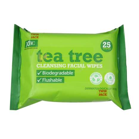 Tea Tree Biodegradable Face Wipes - Twin Pack