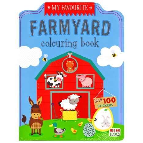 Farmyard Colouring Book 72 Pages + 100 Stickers