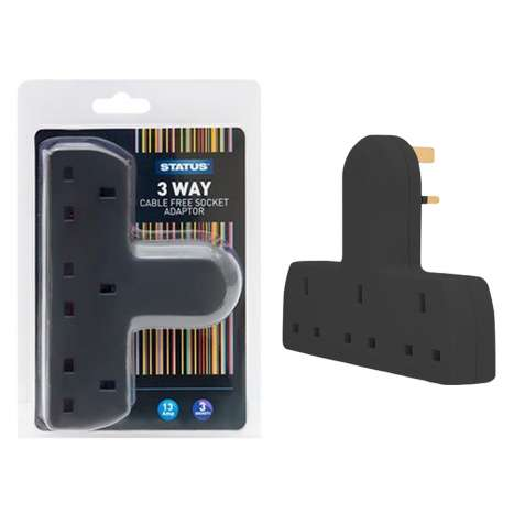 3 way cable free socket adaptor - black