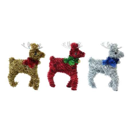 Tinsel reindeer decoration