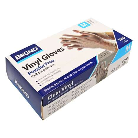 Brüno Powder Free Clear Vinyl Gloves 100 Pack - Medium