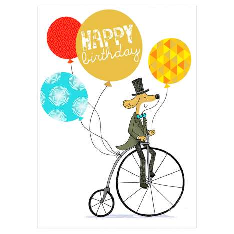 Garlanna Greeting Cards Code 50 - Dog Bike