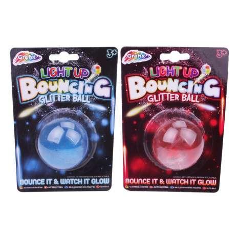 Light Up Bouncing Glitter Ball - 3 Assorted Colours