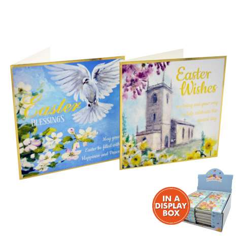 Easter cards 10PK - Blessings/Wishes (in acetate box) - in display