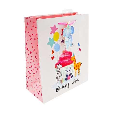 Medium Gift Bags - Animal Cupcake Birthday Wishes (21cm x 26cm)