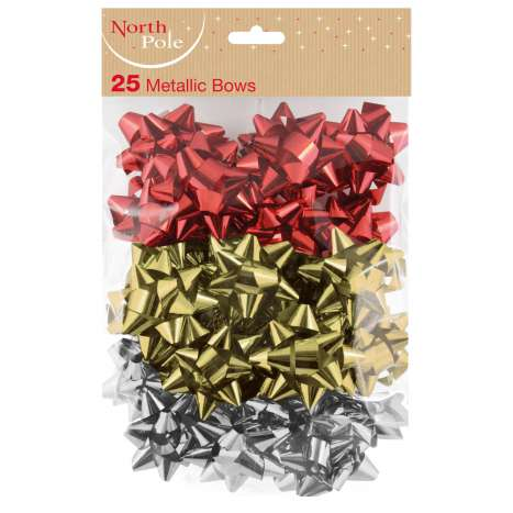 25 metallic bows- assorted colours