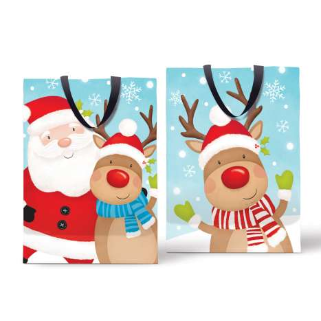 Super jumbo bag - cute Santa & reindeer