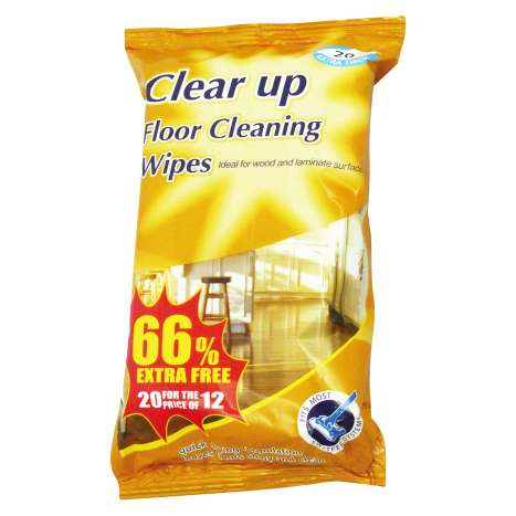 Clear Up Floor Cleaning Wipes 12 Pack +66% Extra Free