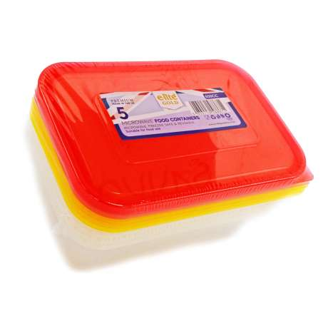 E-Lite Gold Microwave Food Containers 650ml 5 Pack