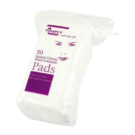 Simply Cotton Square Cotton Wool Pads 50 Pack